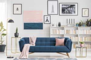 Blå velour sofa