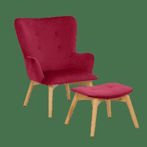Rød Newman lænestol m. fodskammel