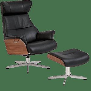 Air læderlænestol samt skammel til fødderne