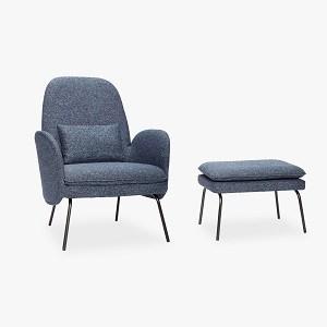 Hübsch lænestol med fodskammel i blå/sort
