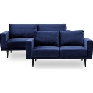 Mexico sofasæt med 2,5 og 3 pers. sofa i mørkeblåt velour