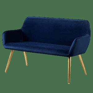 Living&more mørkeblå velour sofa