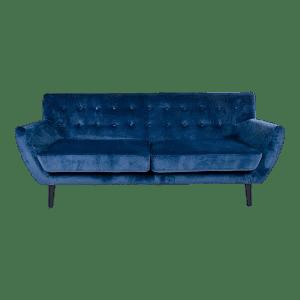 Monte 3 personers sofa - mørkeblå velour