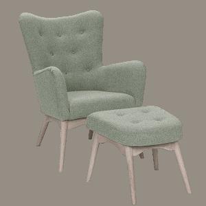 Lys grøn Palmetto lænestol med skammel