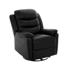 Chandler Recliner m/drejefod - Sort læder