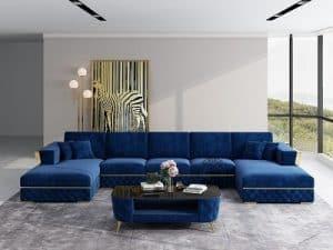 Blå Chester u-sofa