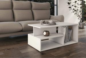 billigt hvidt moderno bord med flere opbevaringsmuligheder