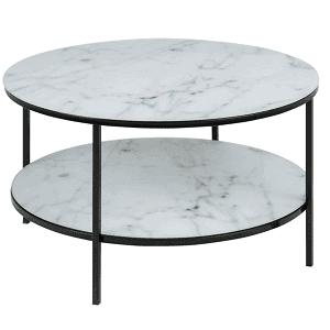 sofabord med hylde med hvid marmorlook