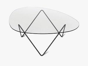 Pedrera glas sofabord med sort base fra Gubi